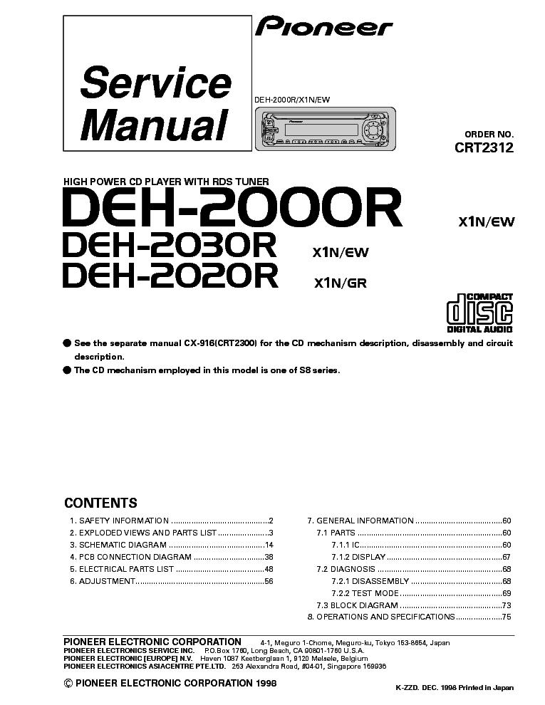pioneer deh 2000r 2020r 2030r crt2312 sm 1 service manual free schematics eeprom