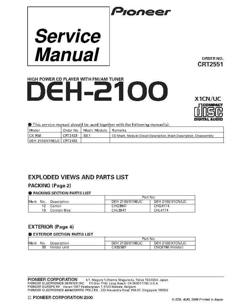 pioneer_deh 2100_crt2551_supplement.pdf_1 pioneer deh 1400,14 service manual download, schematics, eeprom pioneer deh 2100 wiring diagram at fashall.co