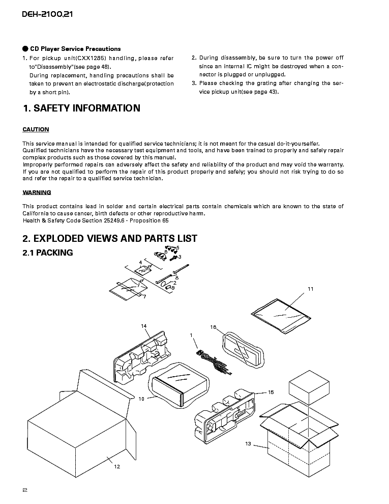 pioneer deh-21 deh-2100 sm service manual (2nd page)