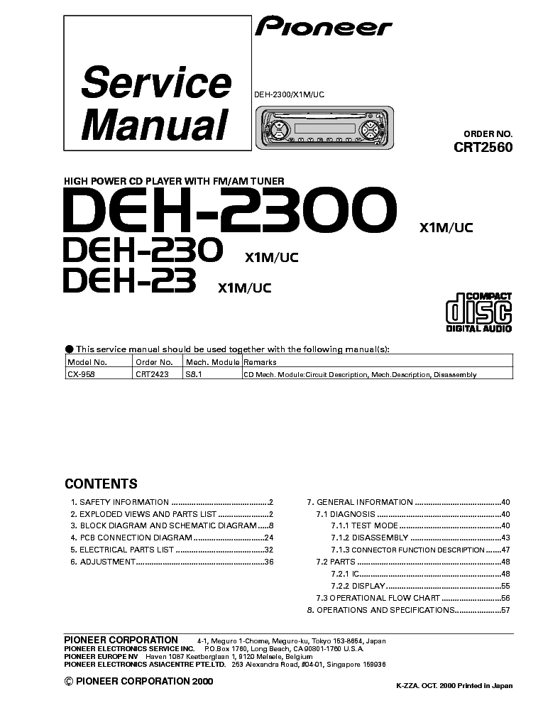 pioneer deh p47dh p77dh sm 2 service manual schematics eeprom repair info for