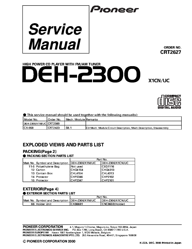 Pioneer Deh P3900mp Wiring Diagram : Pioneer deh ub wiring diagram electrical schematic