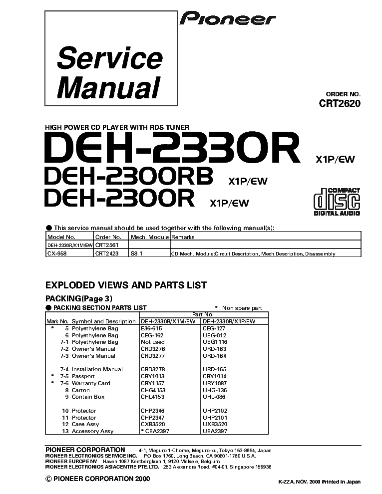 pioneer_deh 2330r_deh 2300rb_crt2620_supplement.pdf_1 pioneer deh 24ub 2400ub 2450ub crt4749 parts service manual pioneer deh 23ub wiring diagram at reclaimingppi.co