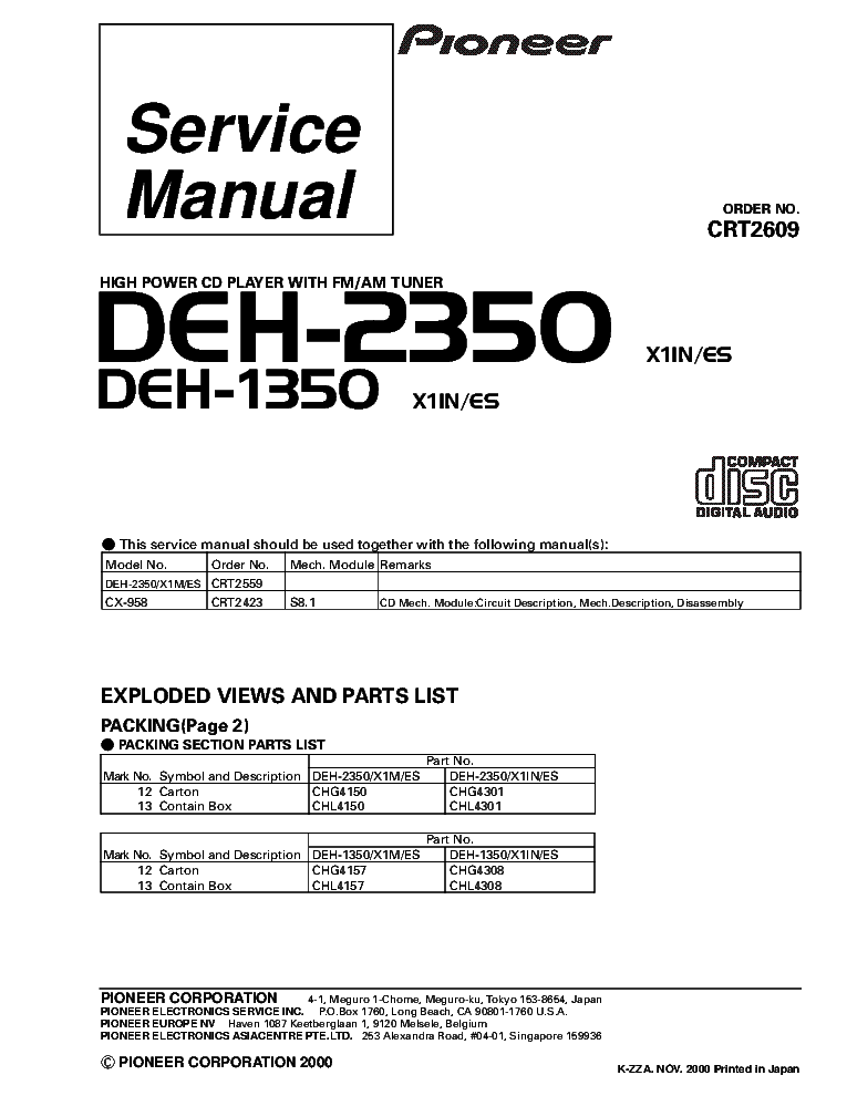 pioneer_deh 2350_deh 1350_crt2609_supplement.pdf_1 pioneer deh 4700mp crt3398 sm service manual download, schematics pioneer deh 2300 wiring diagram at alyssarenee.co
