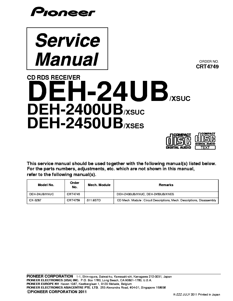 pioneer deh 24ub 2400ub 2450ub crt4749 parts service manual download rh elektrotanya com pioneer deh-24ub wiring harness diagram pioneer deh-2400ub wiring harness