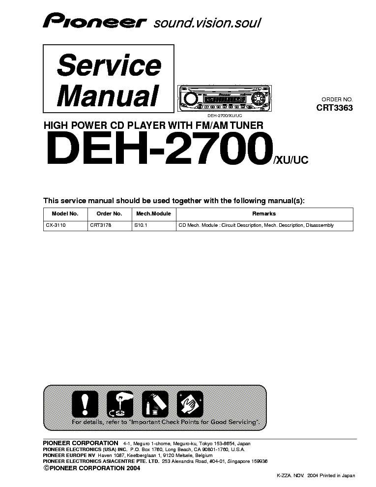 pioneer deh 2700 service manual schematics eeprom repair info for electronics experts