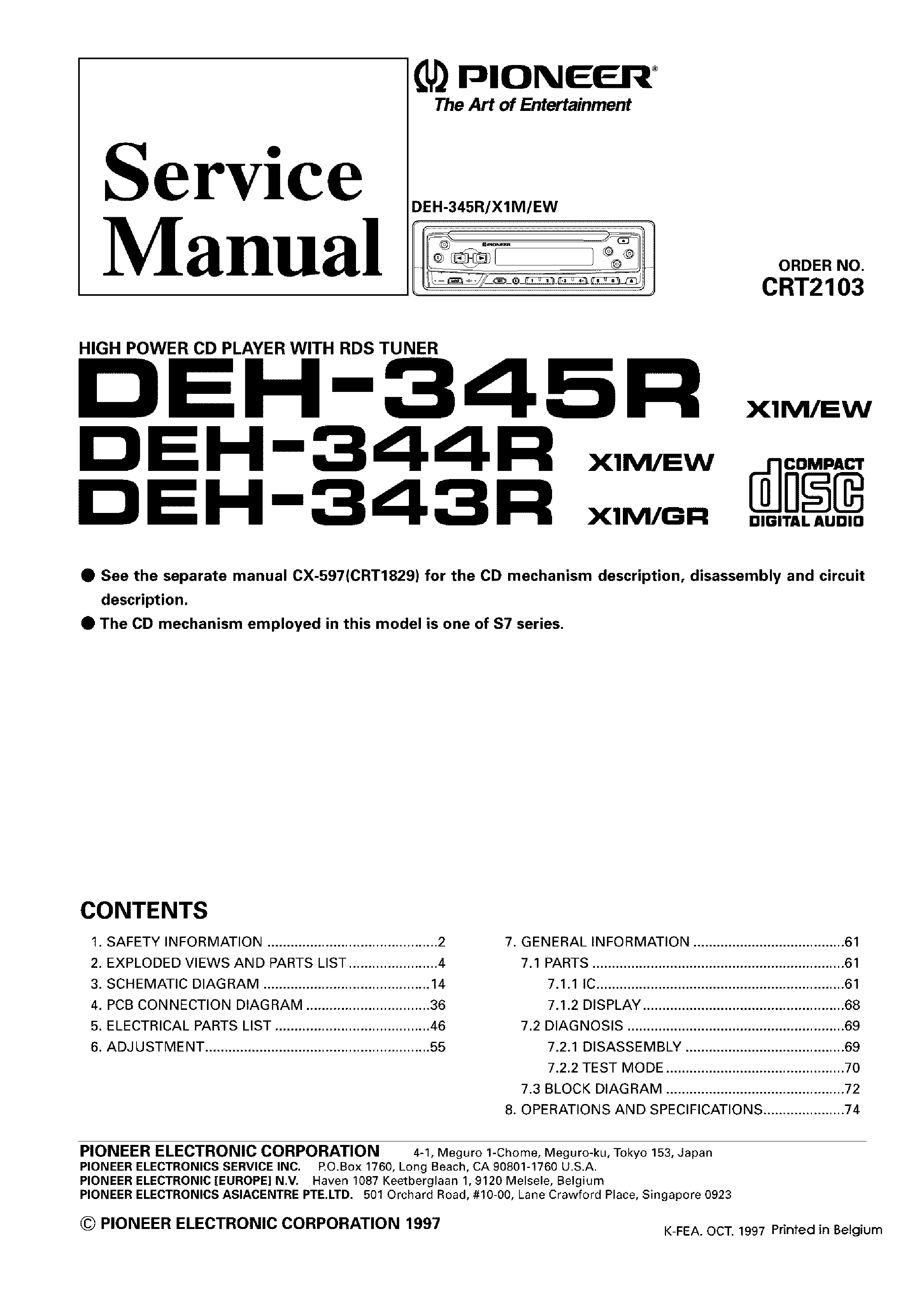 Pioneer Deh 1400 Wiring Diagram Schematics And Diagrams