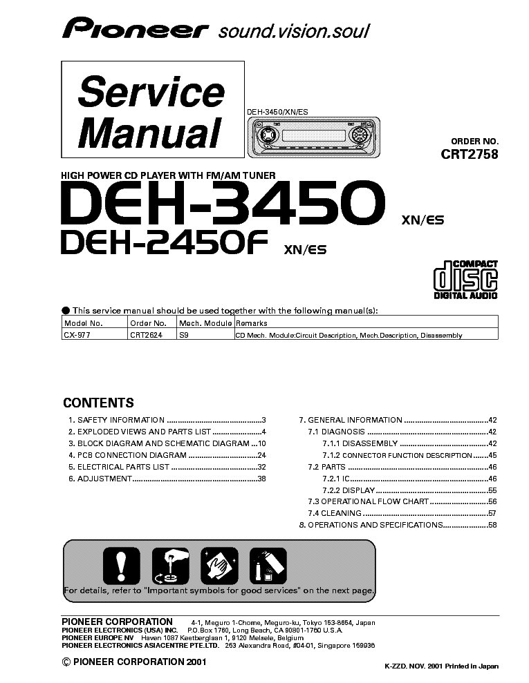 pioneer deh 3450 2450f service manual schematics eeprom repair info for electronics