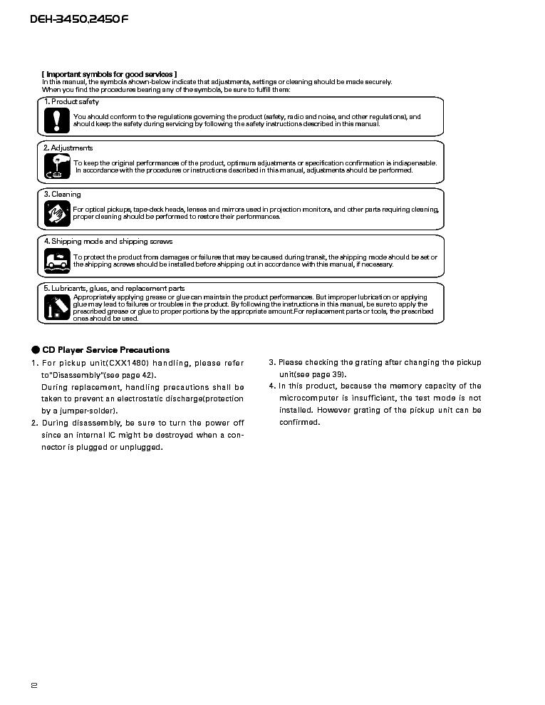 PIONEER DEH-3450,2450F Service Manual download, schematics