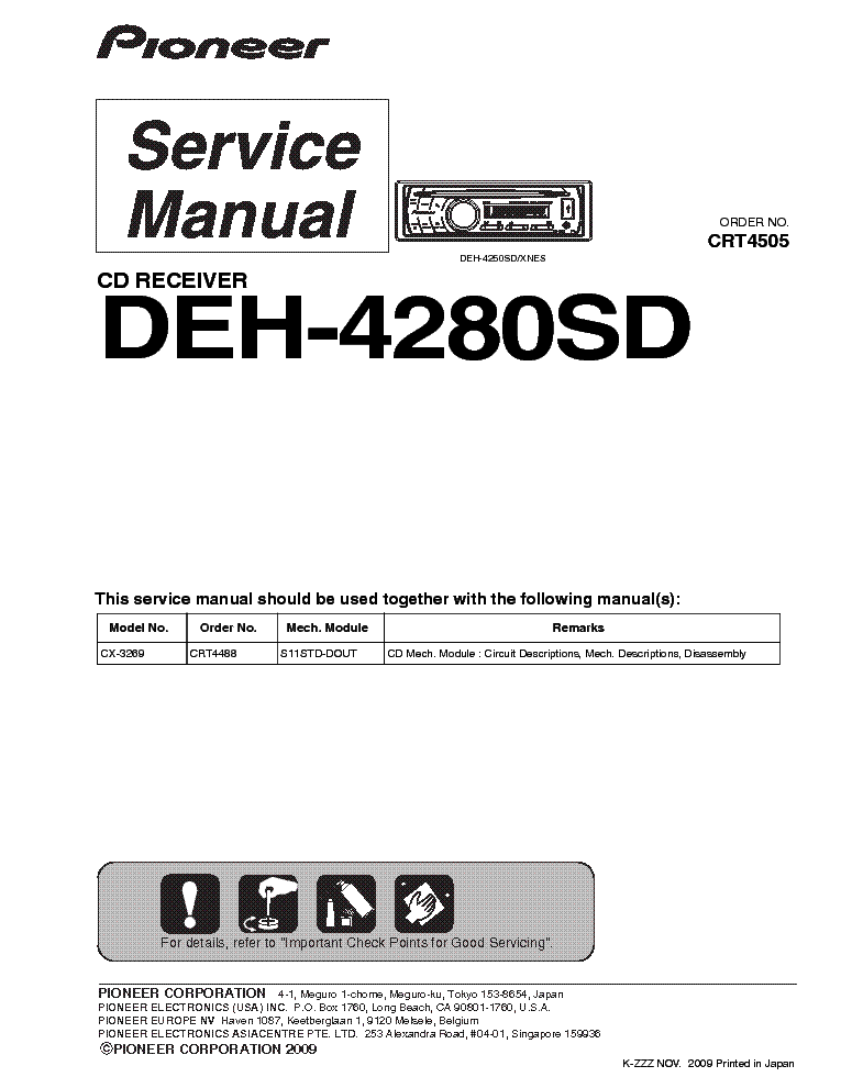 PIONEER DEH-4280SD CRT4505 CAR AUDIO service manual (1st page)