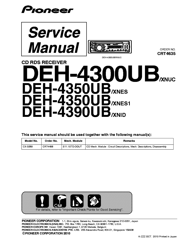 pioneer deh 4300 4350 4390ub service manual download schematics rh elektrotanya com pioneer deh-4300ub wiring harness diagram