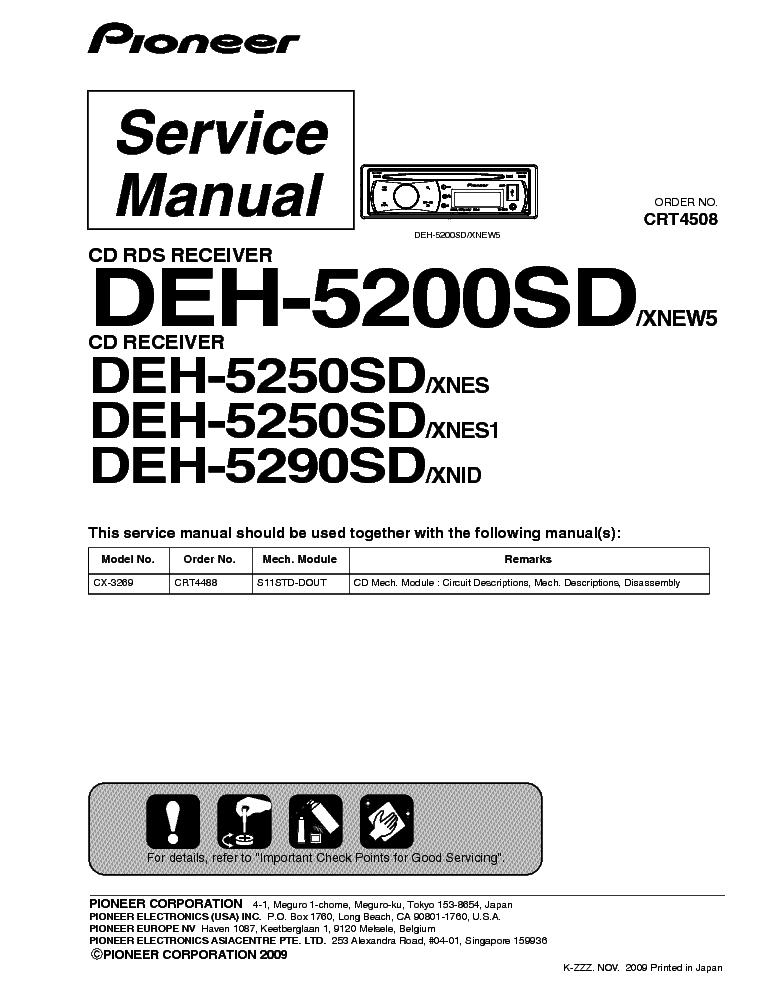 Pioneer deh 5200sd инструкция