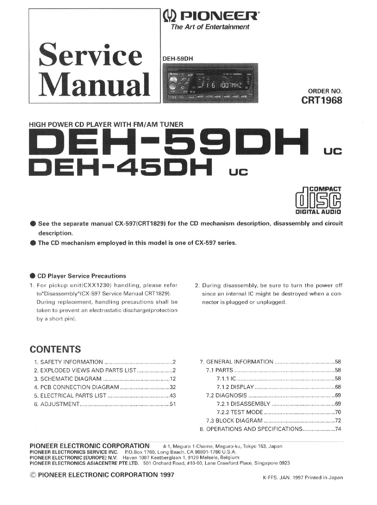 Pioneer Radio Schematic Manual Guide Wiring Diagram Kenwood Kdc 2022 Deh 245 Super Tuner