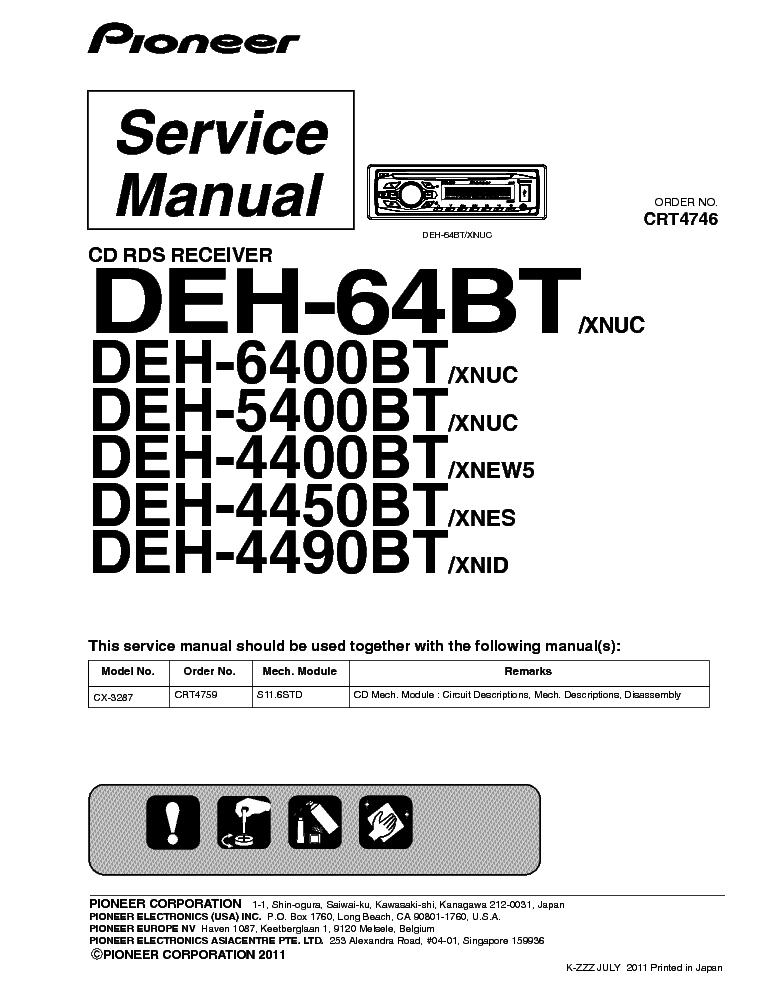 pioneer deh 64bt deh 6400bt deh 5400bt deh 4400bt deh 4450bt deh 4490bt service manual