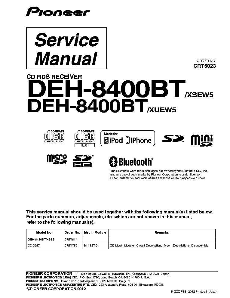 pioneer deh 8400bt crt5023 parts layout service manual download rh elektrotanya com