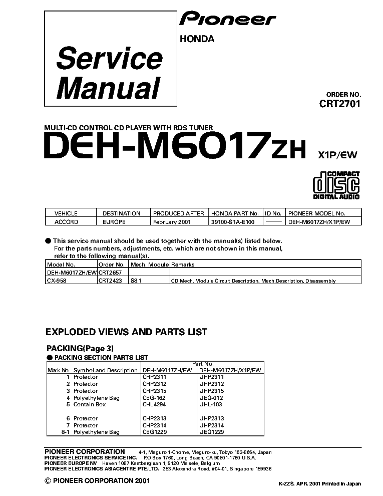 PIONEER DEH-M6017ZH CRT2701 SUPPLEMENT service manual (1st page)