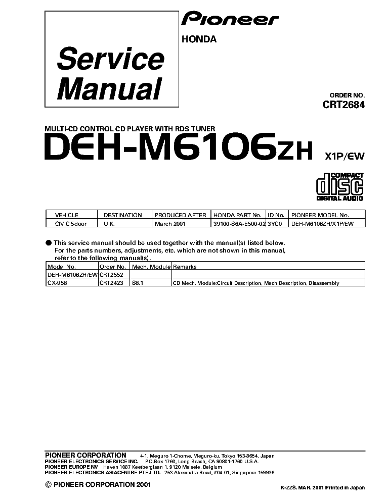 pioneer_deh m6106zh_crt2684_supplement.pdf_1 pioneer deh p260 service manual download, schematics, eeprom pioneer deh p6800mp wiring diagram at edmiracle.co