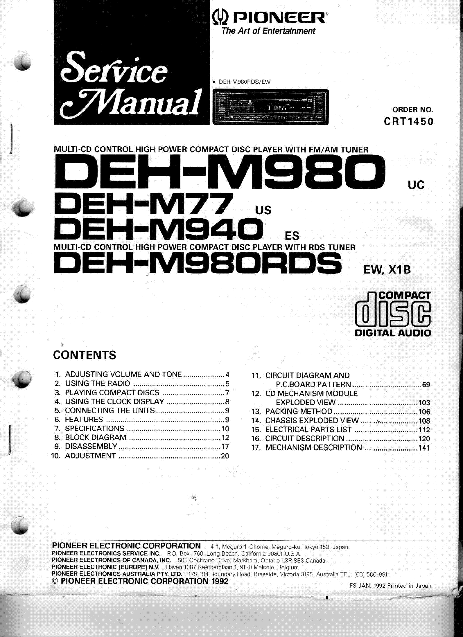 Pioneer Deh M980rds Service Manual Download Schematics Eeprom Avh P4000dvd 1st Page
