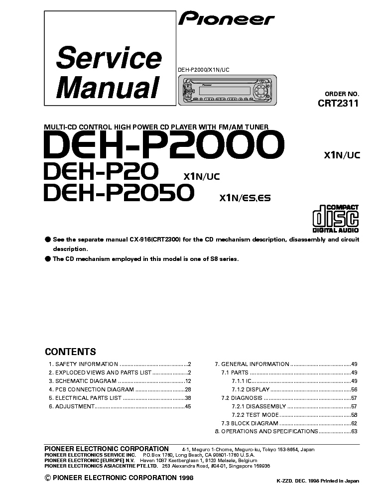 pioneer_deh p20_p2000_p2050_crt2311_sm.pdf_1 pioneer deh p20 p2000 p2050 crt2311 sm service manual download pioneer deh-p20 wiring diagram at bayanpartner.co