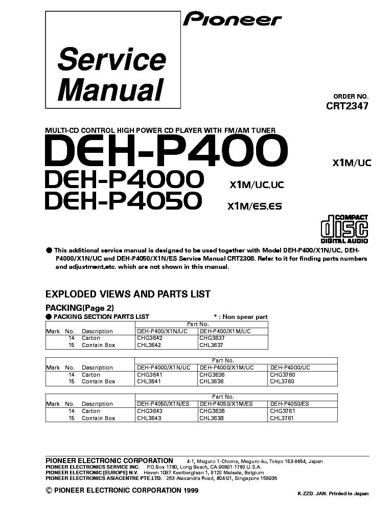 pioneer deh p400 deh p4000 deh p4050 parts service manual download rh elektrotanya com Pioneer Deh X5500hd Pioneer Deh Wiring Harness Diagram