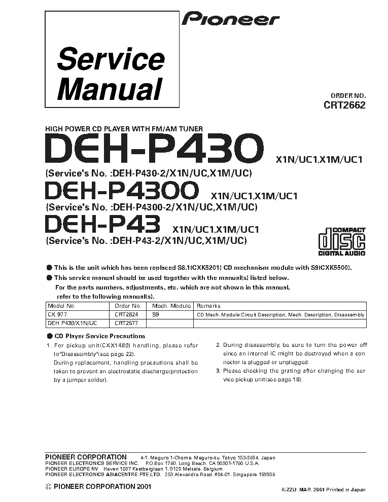 pioneer_deh p430_deh p4300_deh p43_crt2662.pdf_1 pioneer fh p404 service manual download, schematics, eeprom pioneer deh-p43 wiring diagram at creativeand.co