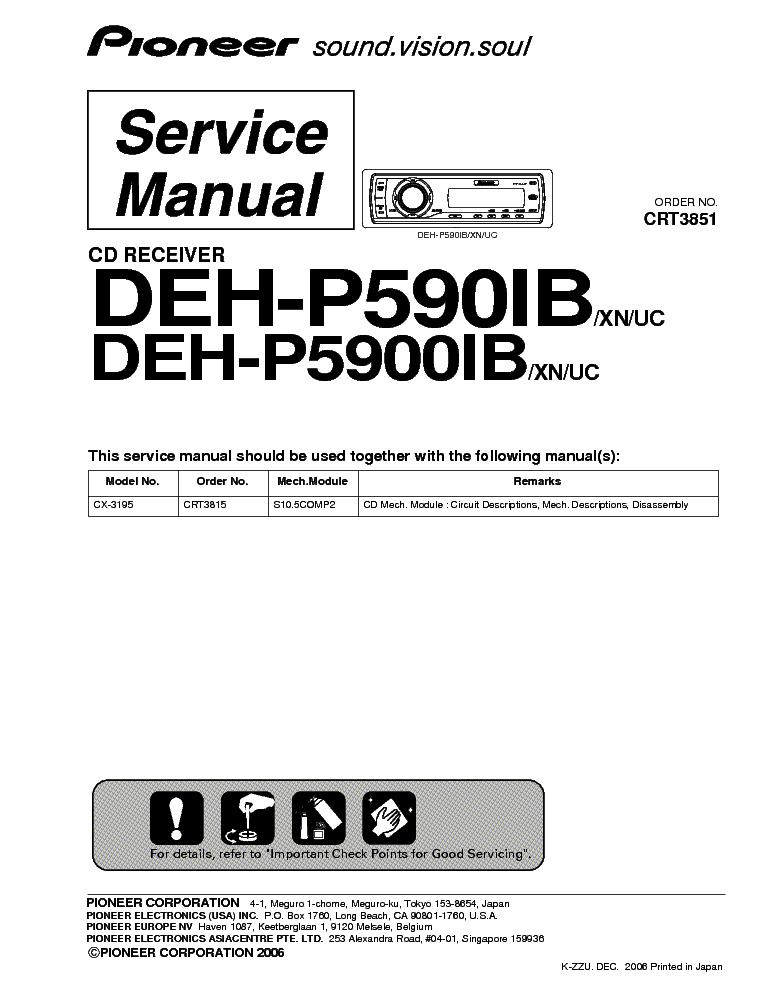 pioneer deh p590ib deh p5900ib service manual schematics eeprom repair info for