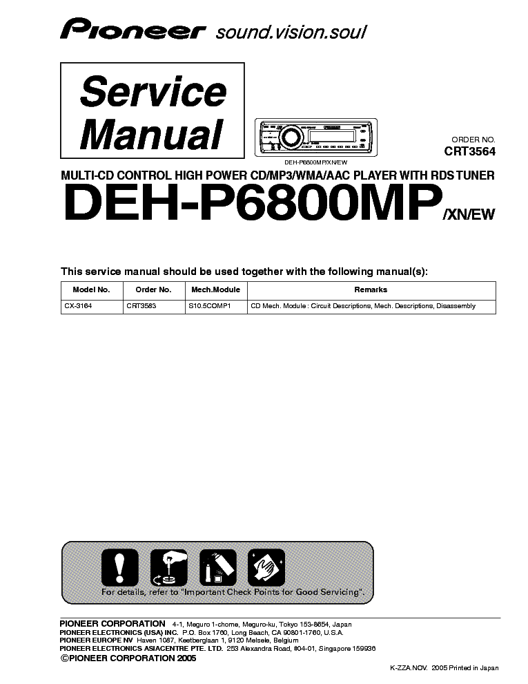pioneer deh p6800mp crt3564 sm service manual download schematics rh elektrotanya com pioneer deh-p6800mp manual pdf pioneer deh p6800mp user manual