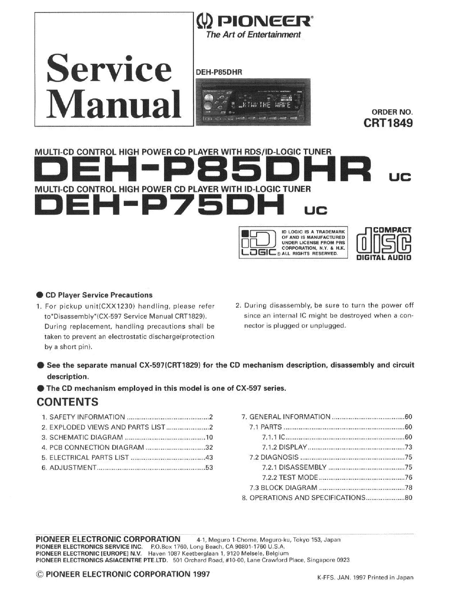 Pioneer Deh 140014 Service Manual Download Schematics Eeprom 1400 Wiring Diagram