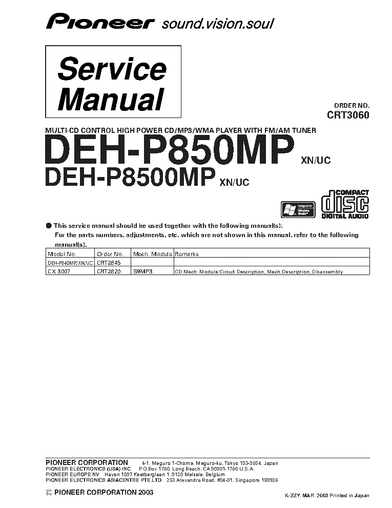 Pioneer deh p850mp,deh p8500mp [pdf document].