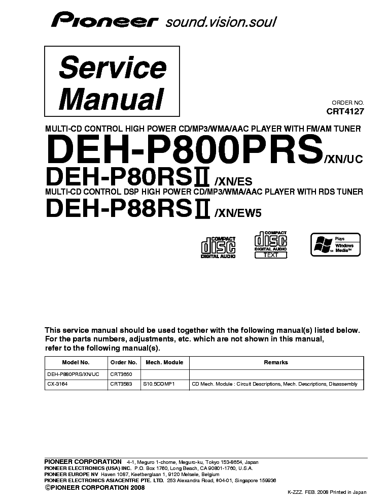 pioneer_deh p880prs_p80rsii_p88rsii_crt4127_part_list.pdf_1 pioneer deh p7300 wiring diagram deh 6400bt wiring diagram, deh pioneer deh p7200 wiring diagram at webbmarketing.co