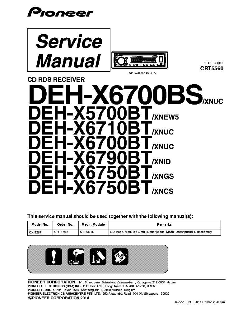 pioneer deh-x6700bs x5700bt x6710bt x6790bt x6750bt crt5560 car  rh:elektrotanya com | 990  wiring diagram for pioneer