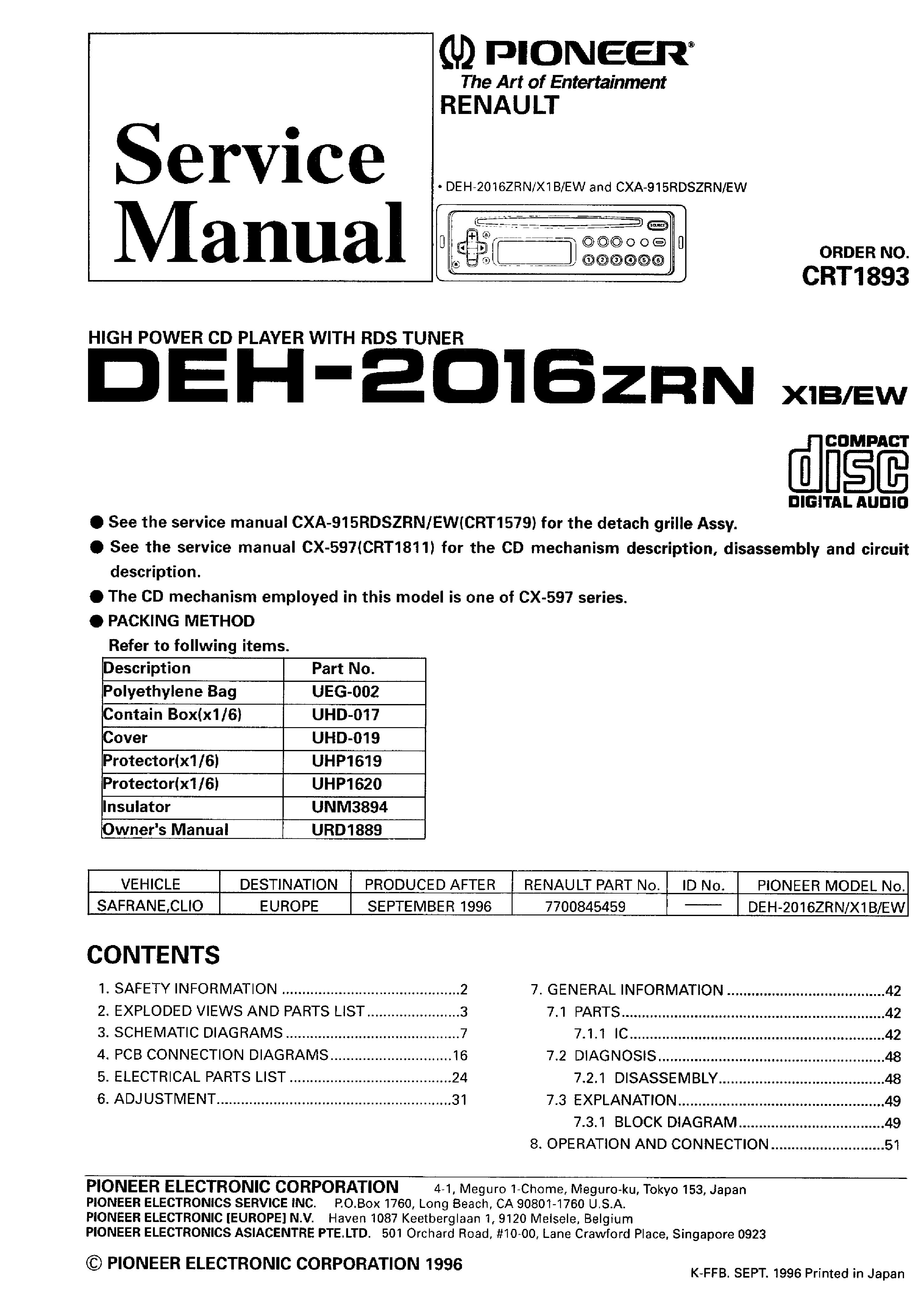 Сервис-мануал для авто электроники Other PIONEER DEH-2016zrn.