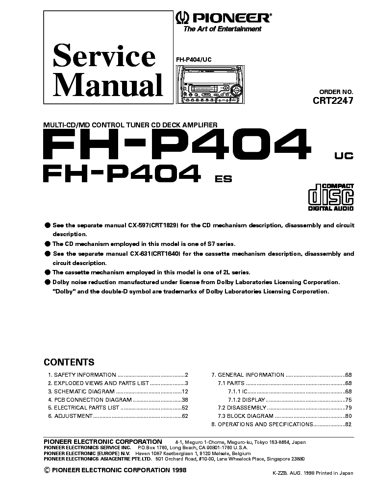 pioneer_fh p404.pdf_1 pioneer fh p404 service manual download, schematics, eeprom pioneer deh-p43 wiring diagram at creativeand.co