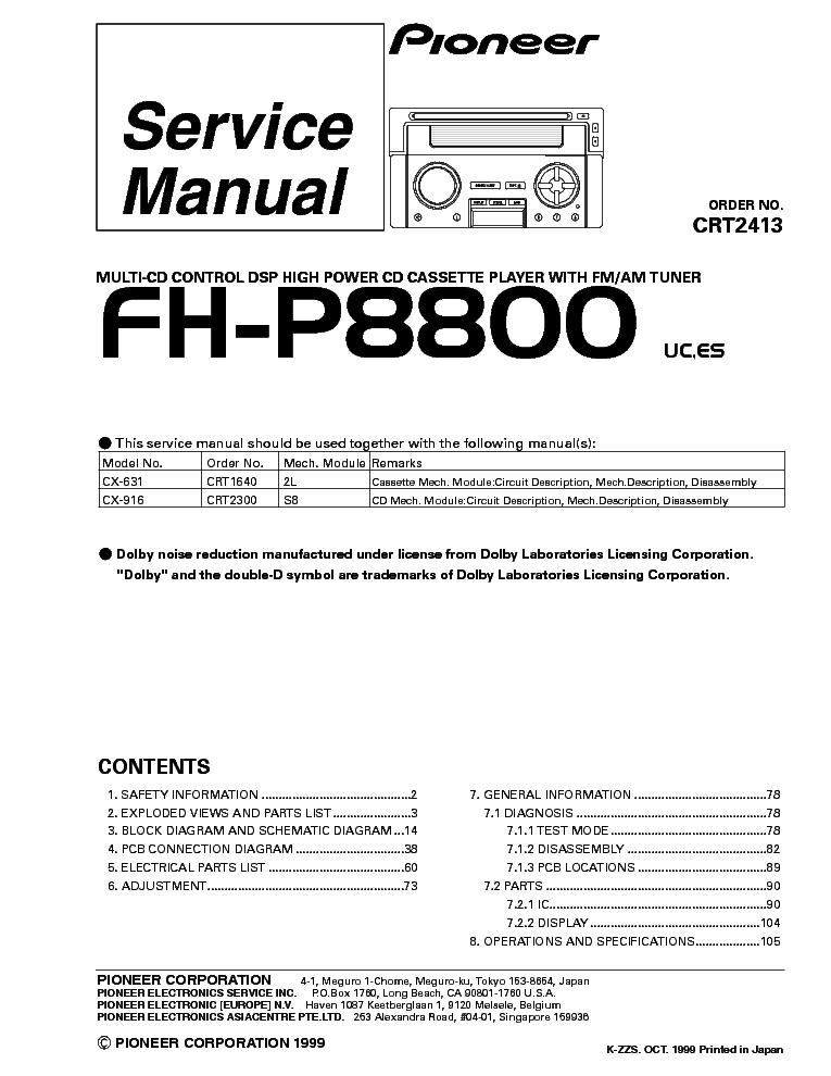 pioneer premier fh p800bt manual