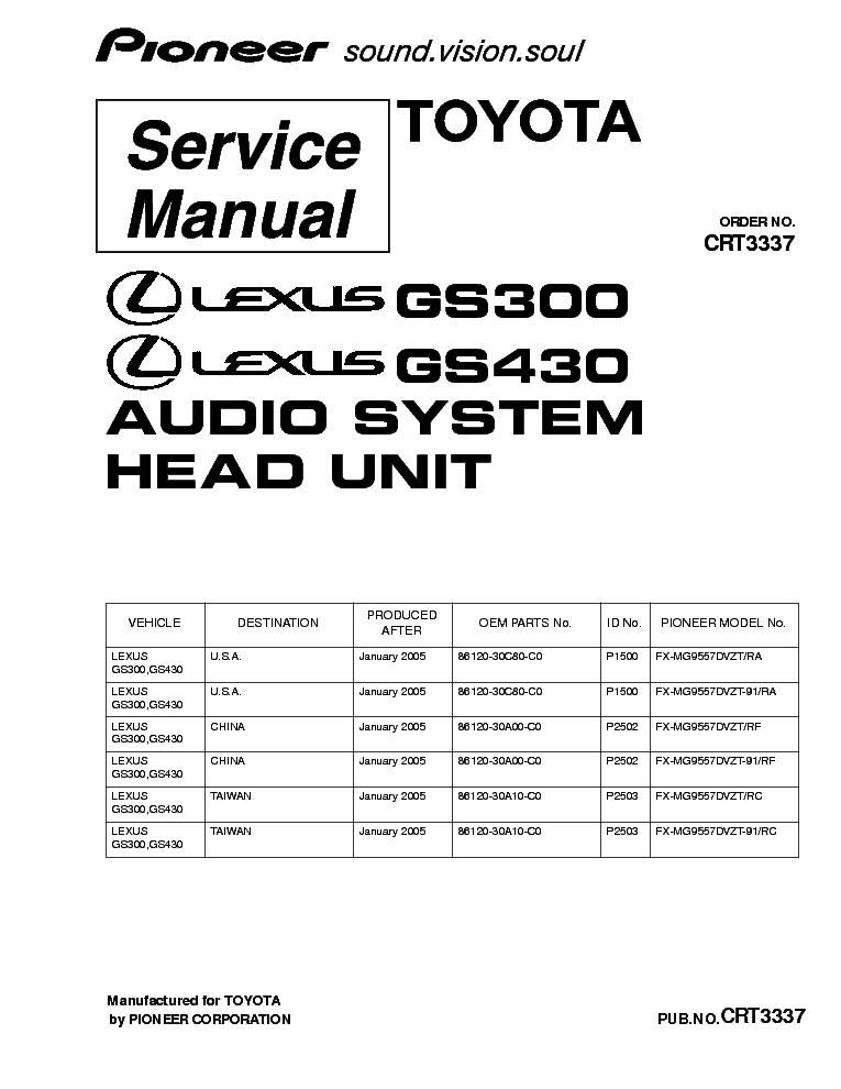 Gs300 Wiring Diagram Pdf : Pioneer gm service manual free download