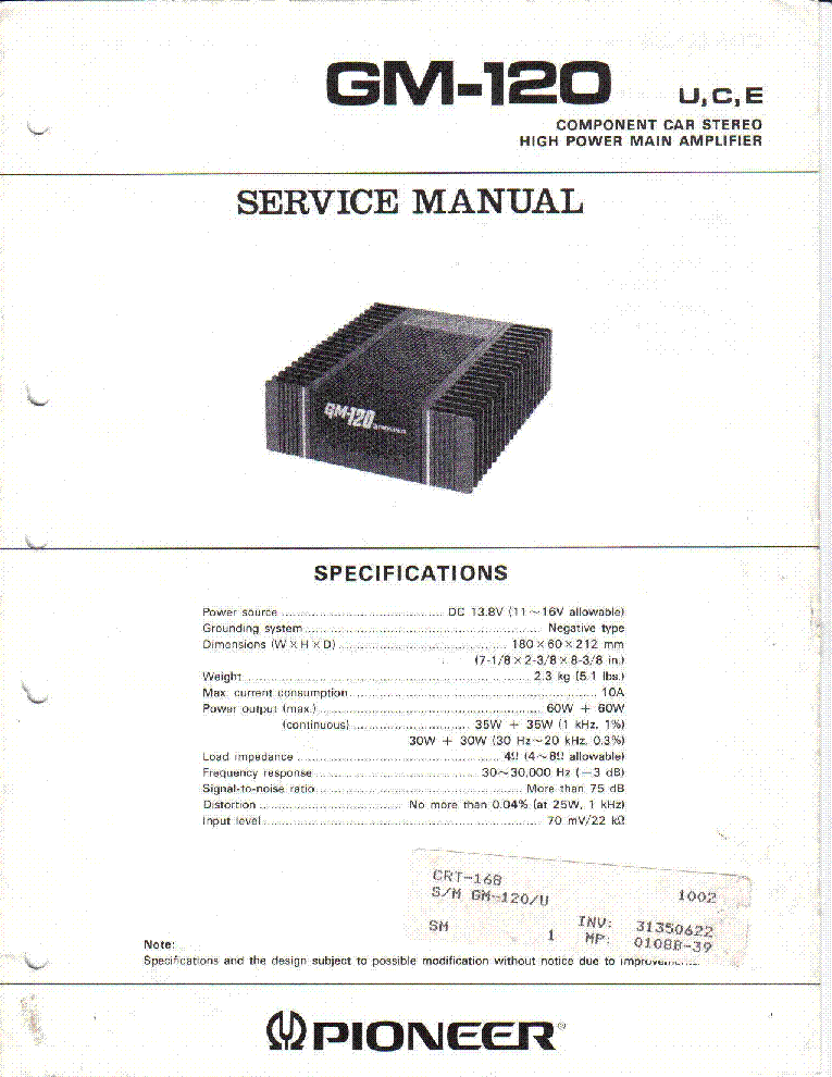 pioneer gm 120 sm service manual free download schematics. Black Bedroom Furniture Sets. Home Design Ideas