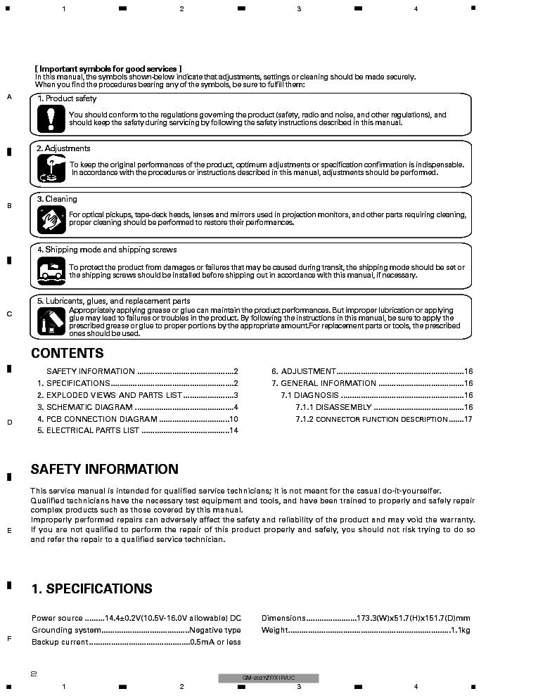PIONEER GM-2027ZF Service Manual download, schematics
