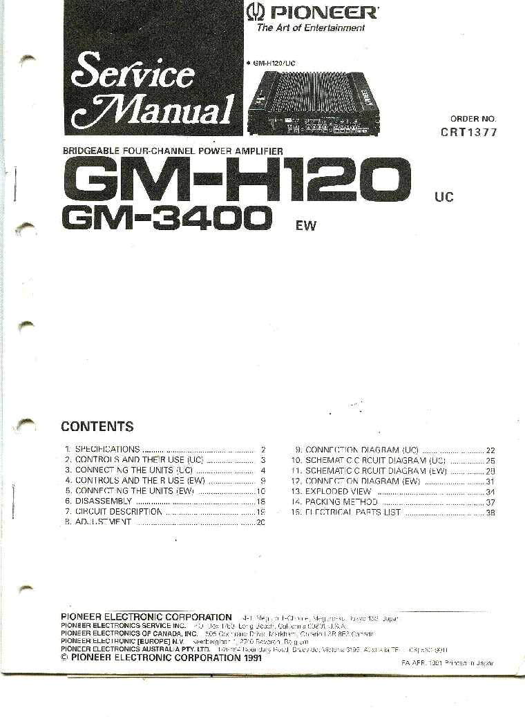 Pioneer Gm 3400 H120 Sch Service Manual Download Schematics Eeprom Avic F700bt Wiring Diagram 1st Page
