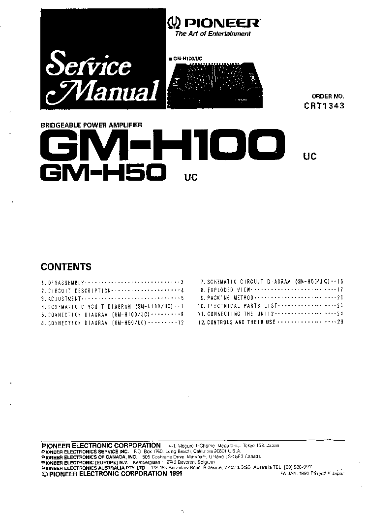 PIONEER GM-H100 GM-H50 CRT1343 Service Manual download ... on