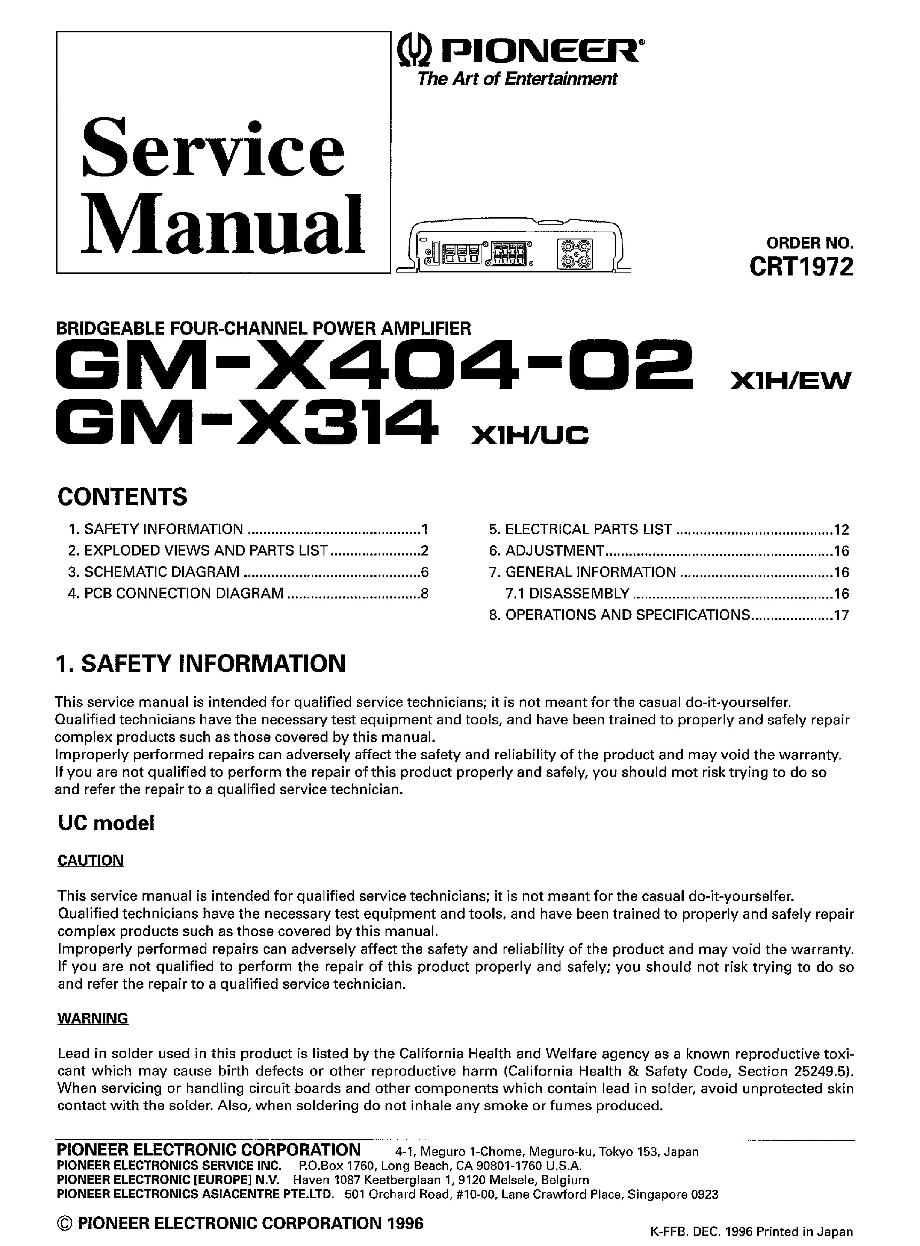 pioneer gm x314 x404 02 service manual download schematics eeprom rh elektrotanya com