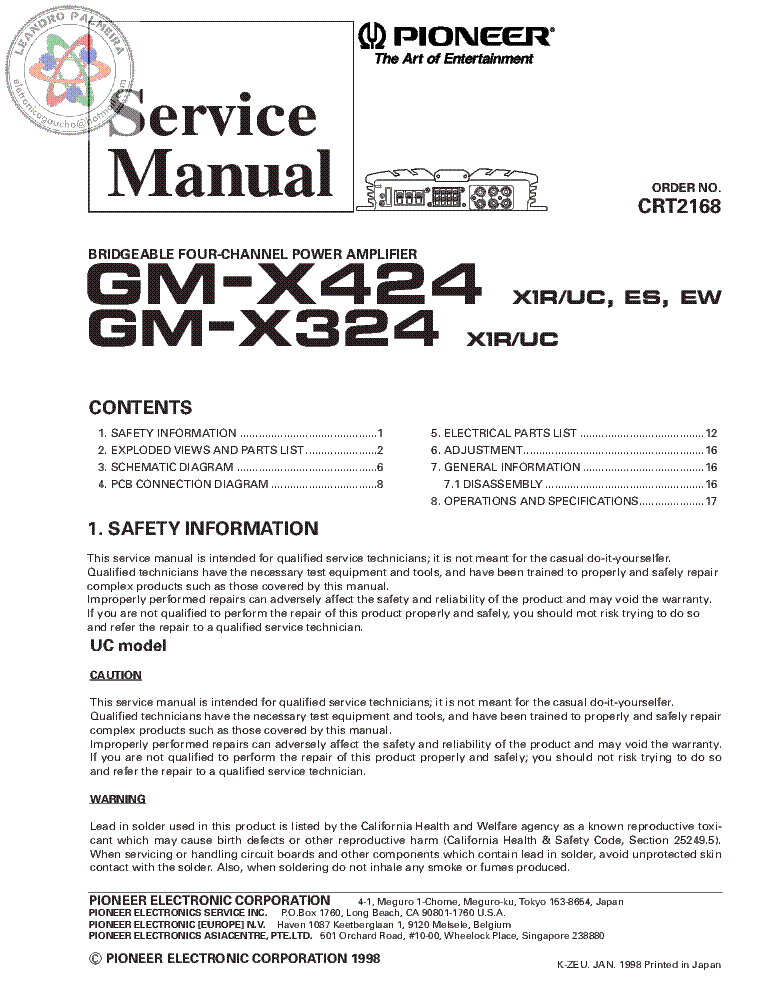 PIONEER GM-X424 GM-X324 service manual (1st page)