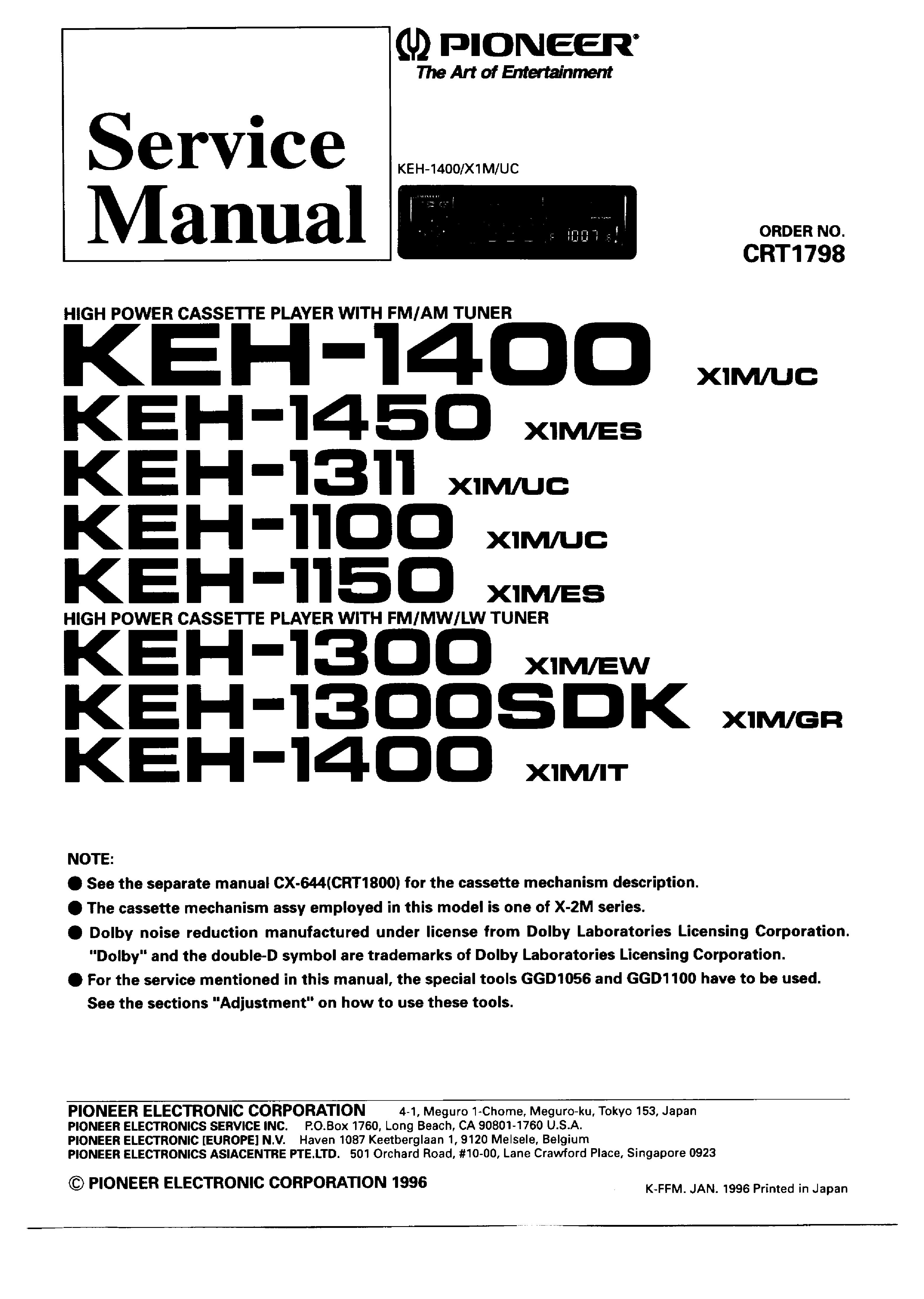 pioneer keh 1100 1150 1311 1300 1400 1450 crt1798 service manual free schematics