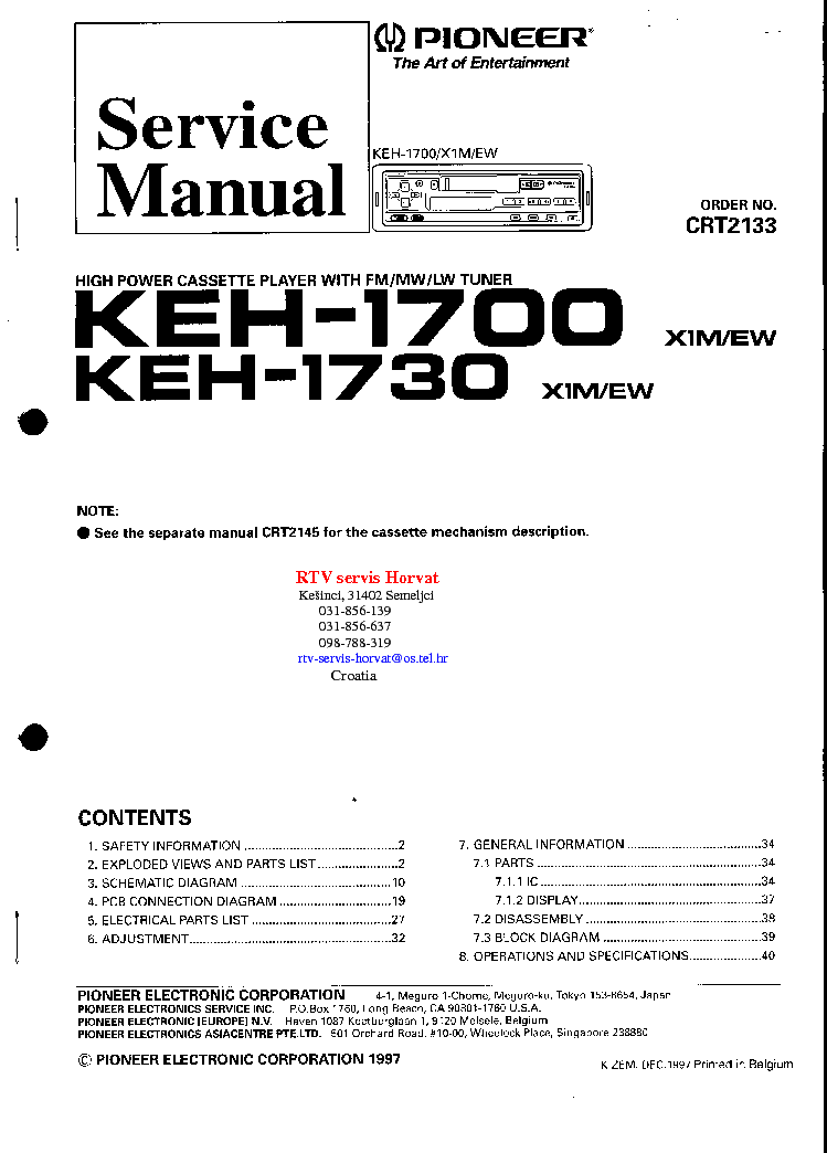 PIONEER GM120 SM Service Manual free download  schematics