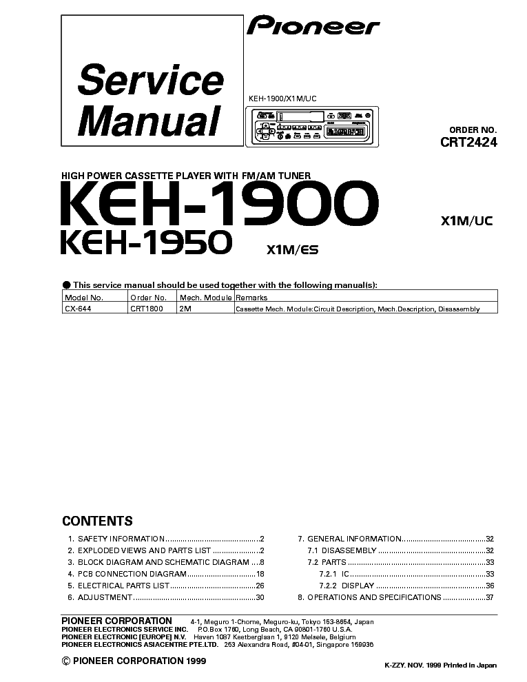 pioneer_keh 1900_1950_x1m es uc_sm.pdf_1 pioneer avh p5350dvd c4685 sm service manual download, schematics pioneer keh-1900 wiring diagram at honlapkeszites.co