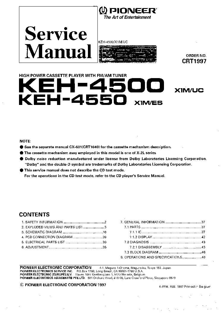 pioneer keh 4500 service manual free schematics eeprom repair info for electronics
