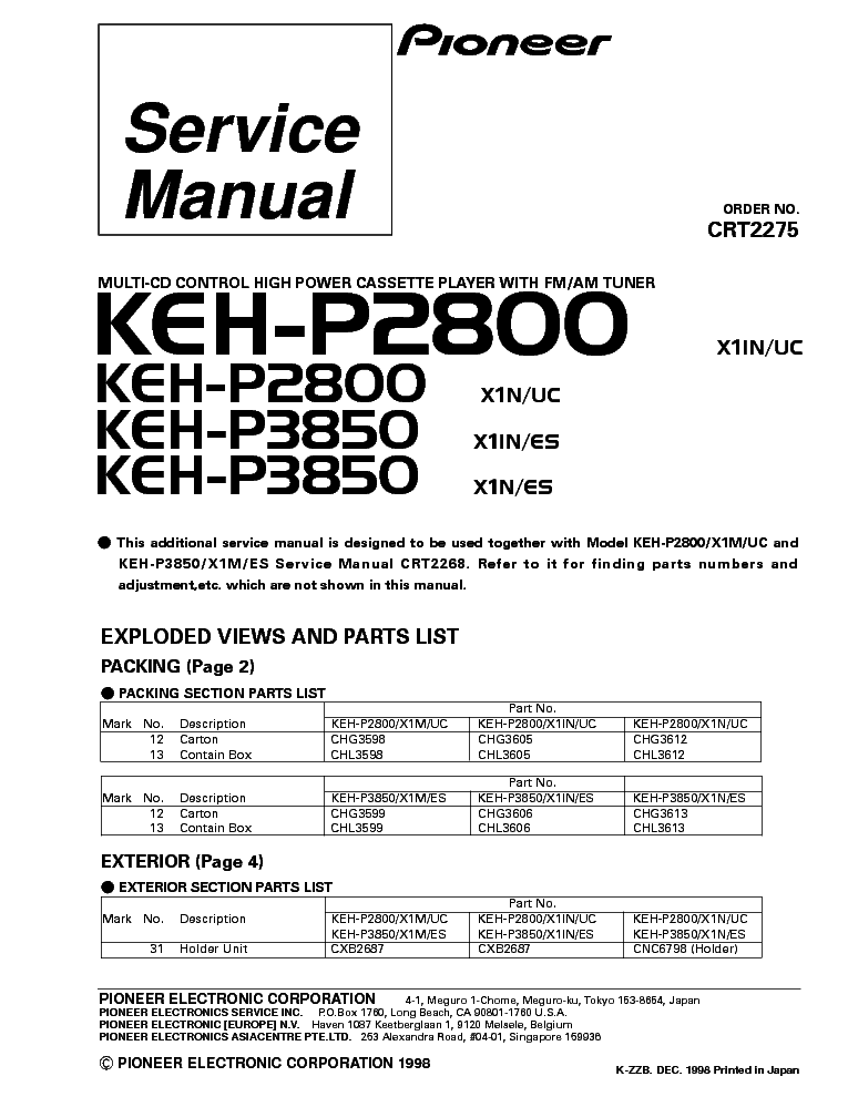 100 ideas pioneer keh p2800 wiring diagram on worksheetcwnload pioneer kehp2800 kehp3850 parts service manual download sciox Gallery