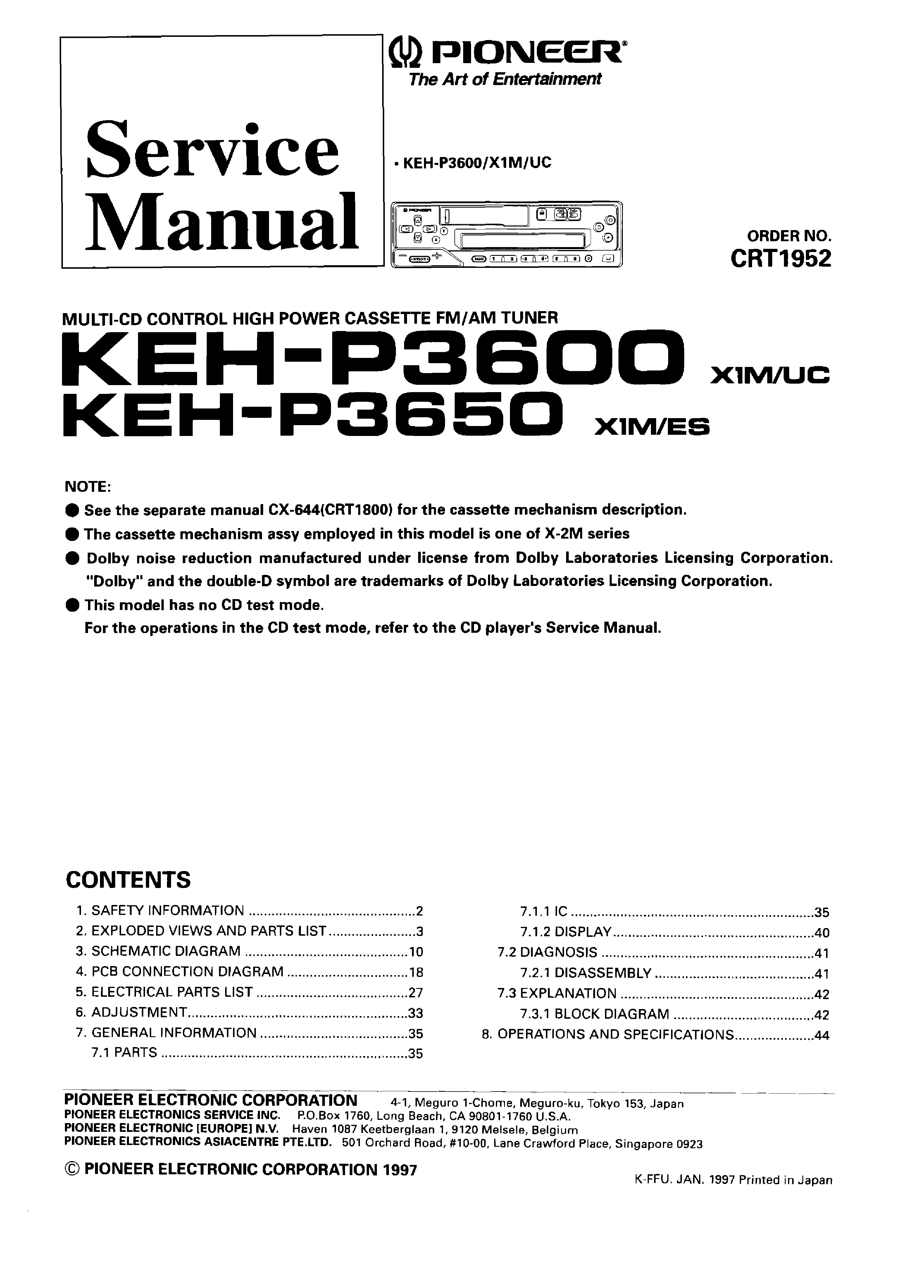 Pioneer Keh P3600 P3650 Sm Service Manual Download Schematics Wiring Schematic 1st Page
