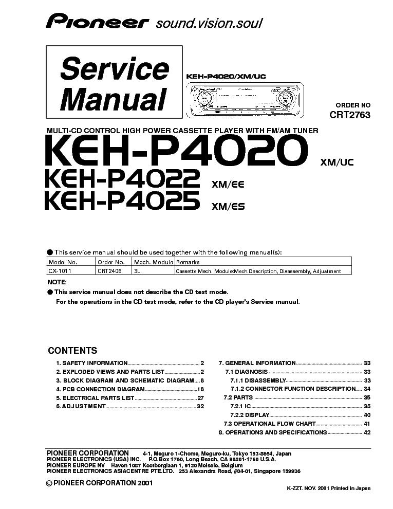 PIONEER KEH-P4020,KEH-P4022