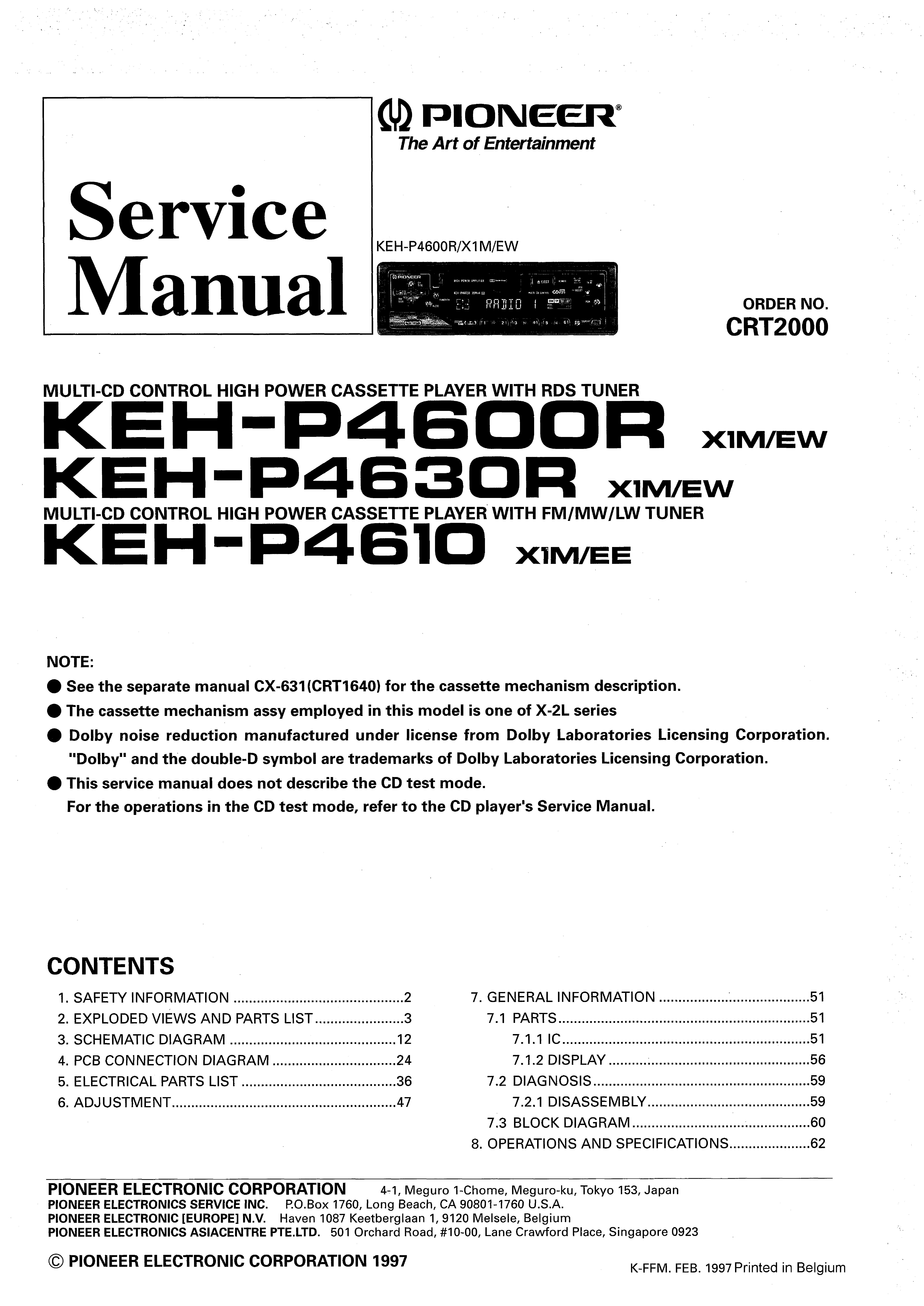 pioneer keh p4600r user manual. Black Bedroom Furniture Sets. Home Design Ideas