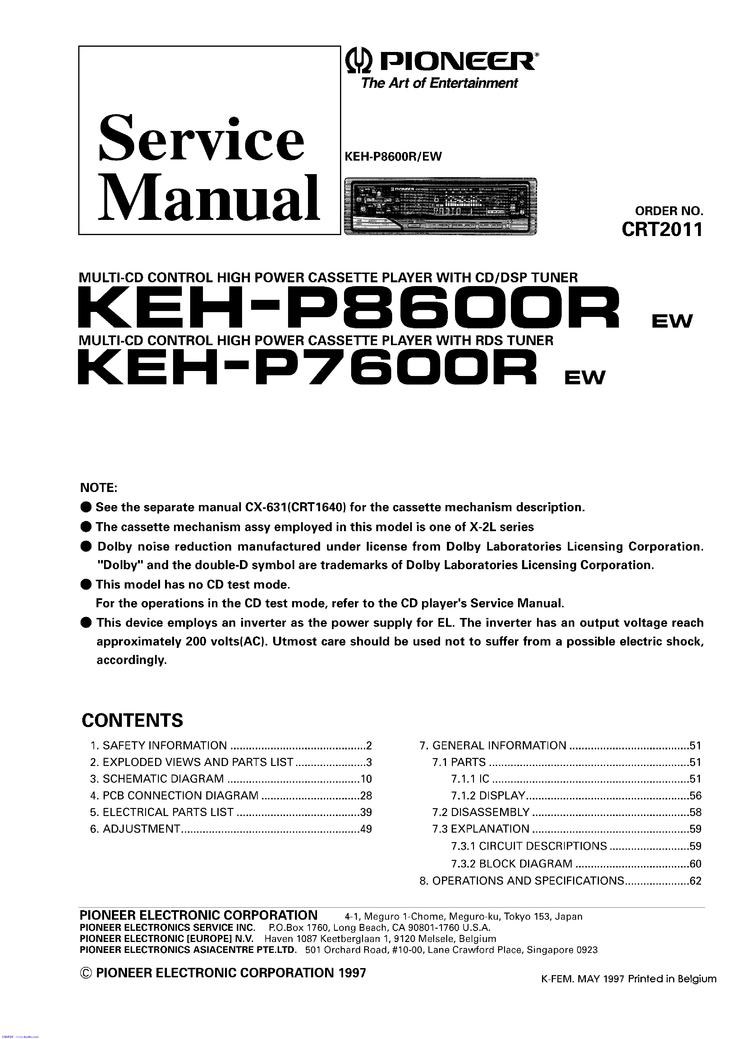 pioneer keh p8600r 7600r service manual free schematics eeprom repair info for