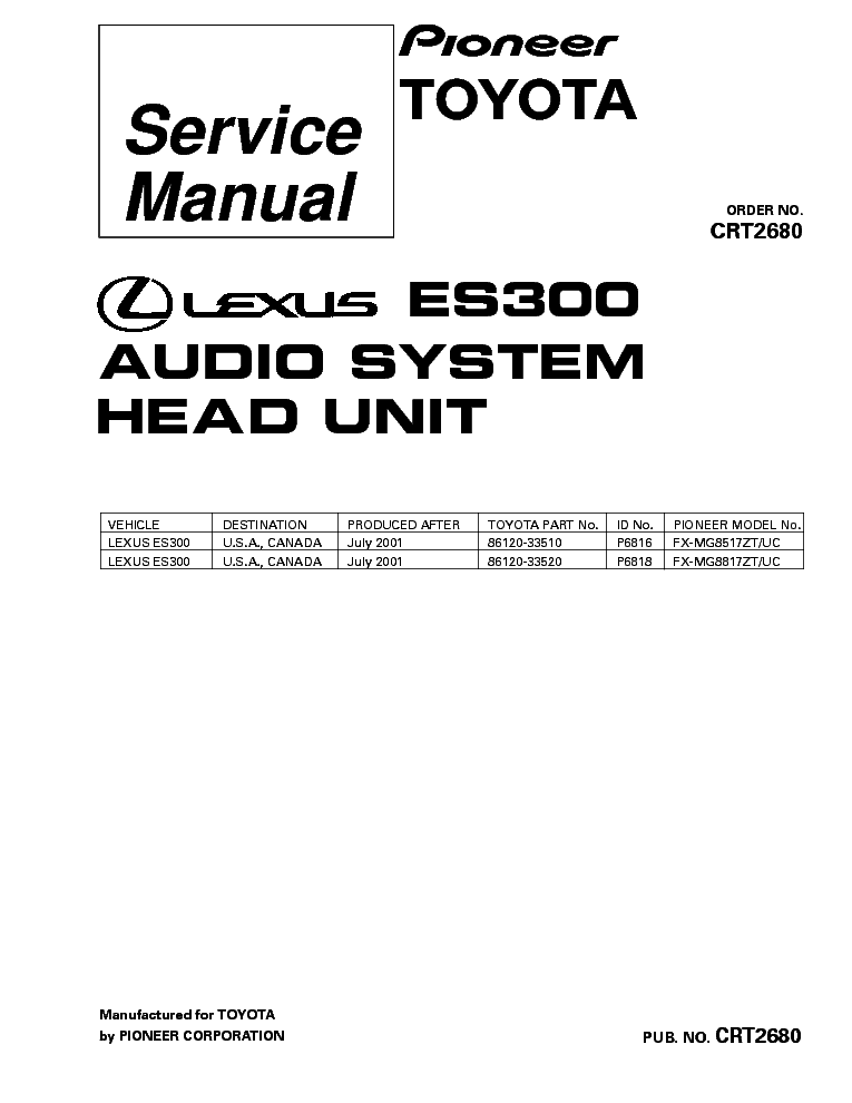 PIONEER LEXUS ES300 FX-MG8517 FX-MG8817-CRT2680- service manual (1st page)